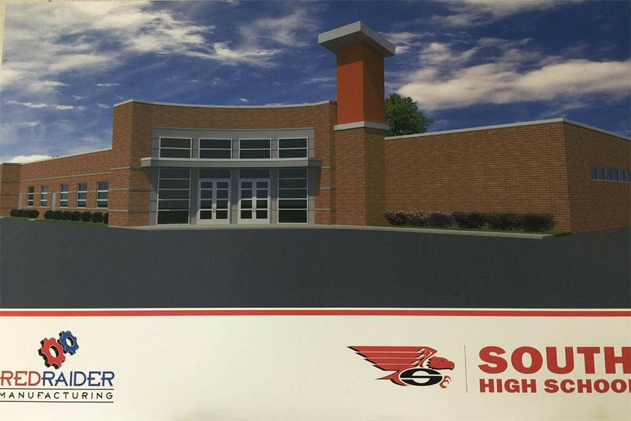 A rendering of the new advanced technologies center added to South in 2016.