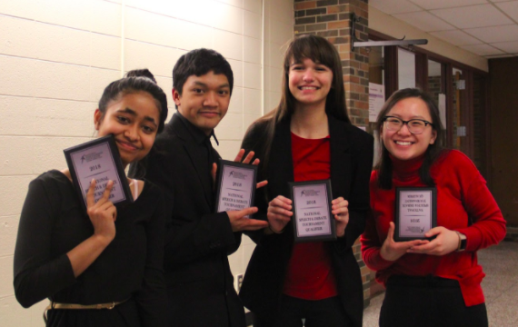 Rakshya Bhatta (10), Kobe Bopha (11), Isabel Gosse (10), and Juliet Chang (11) will be representing the Northern Wisconsin district this summer during the NSDA national tournament.