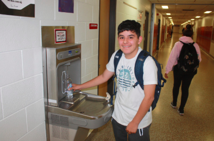 Walter Bernard saving the planet by refilling his plastic water bottle more than once. Way to go Walter!