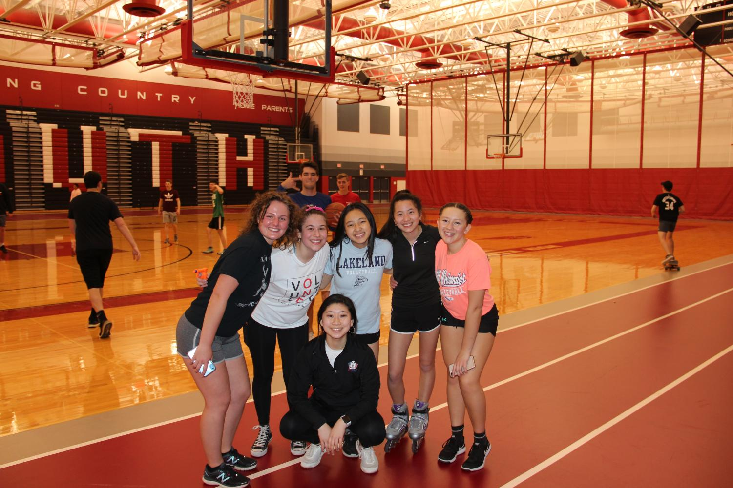 Fieldhouse After Hours: To kick off the night seniors participated in a variety of activities in the Fieldhouse. These activities included basketball and rollerblading.