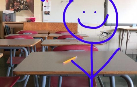There is an ongoing joke about how Senior Nicholas Vue never comes to school so this stick figure drawing is standing, more so sitting, in his place.